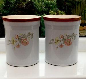 Vintage-Denby-Melody-Tea-Coffee-Storage-Jars-Pair-Floral-16-5x13-5-Cm-Kitchen