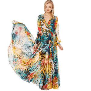 Details About Women S Elegant Floral Print Chiffon Long Maxi Dress Hawaii Summer Beach Dresses