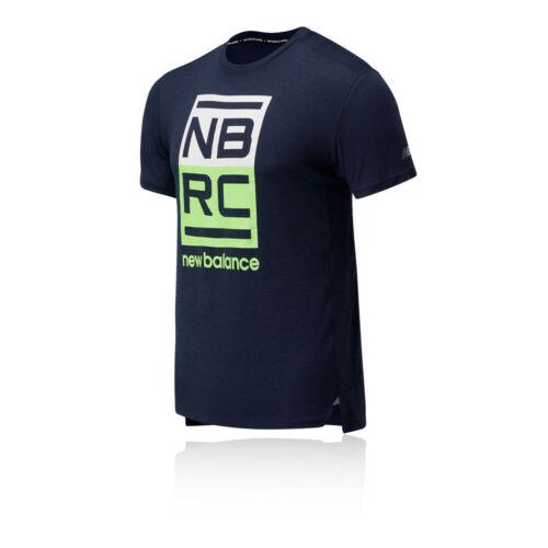 New Balance Mens Printed Impact Run T Shirt Tee Top Navy Blue Sports Running