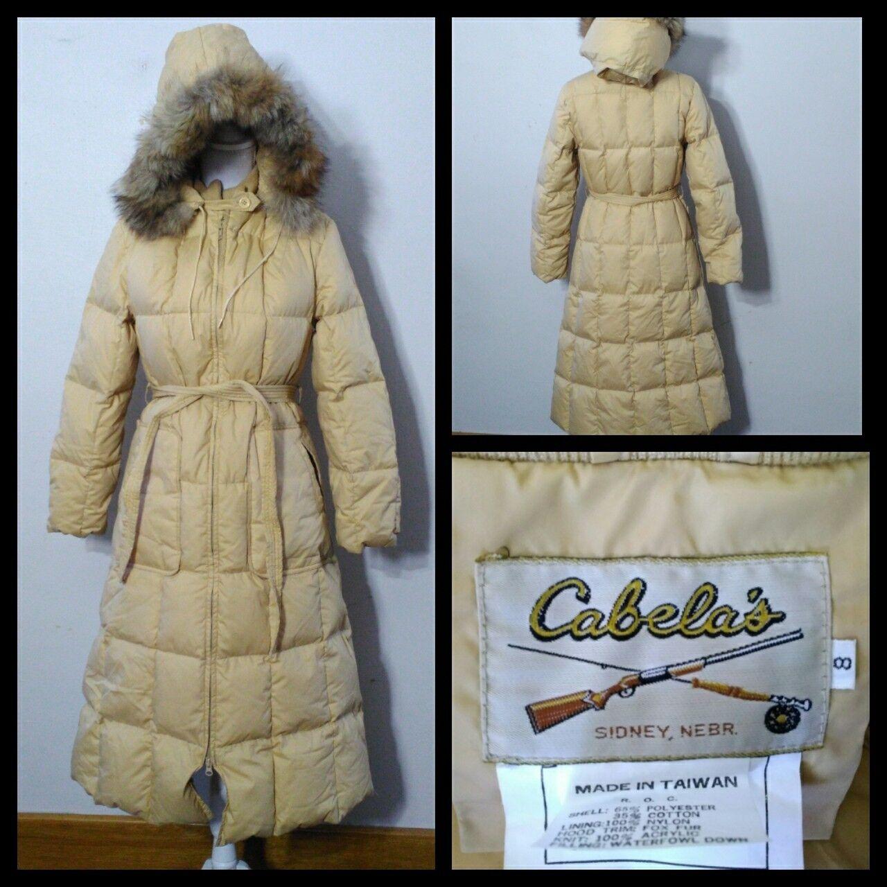 V7073 Cabelas Down Long Coat Women's 8 Dusty Yellow Faux Fur Hood, Belted