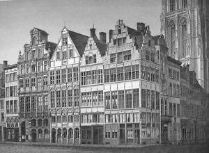 BELGIUM-Antwerp-Grote-Markt-1860s-Antique-Engraving-Print