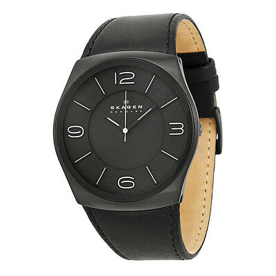 Skagen Perspektiv Black Dial Black Leather Mens Watch SKW6043