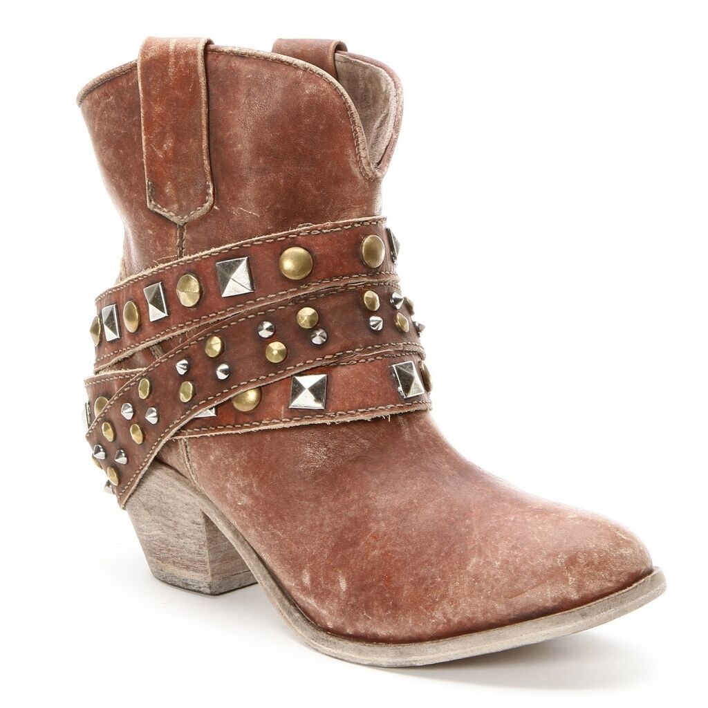 Corral Ladies Studded Strap Ankle Cowgirl Boots P5042