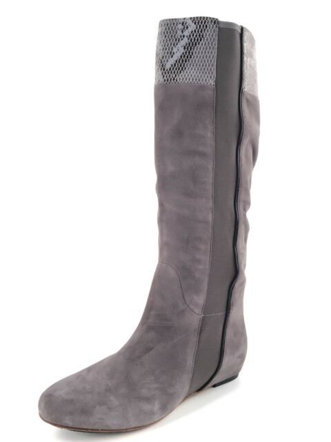 New Tsubo Galena Snake Gray Suede Wedge Knee High Boots Women's Size 6 M *