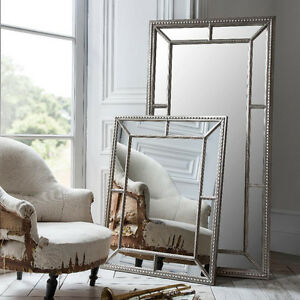 Lawson Wide Frame Pewter Silver Full Length Leaner Wall Floor Mirror ...