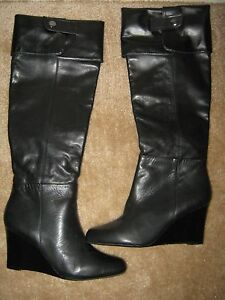 58f2754d773 Adrienne Vittadini Mac Convertible Over the Knee black leather boots ...
