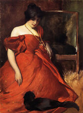 Huge Oil painting Black and Red young woman in red dress with her pet black cat