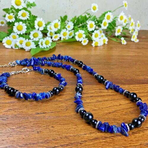 Bracelet Collier Homme  Femme Perles Naturelles Pierres Lapis Lazuli Obsidienne