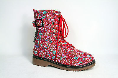 Floral Round Toe Low Heel Lace Up Mid Calf Ankle High Combat Boot Size 5 - 10