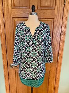 Christopher-amp-Banks-Tunic-Shirt-M-Blue-Green-Paisley-Blouse-Top-3-4-Sleeve