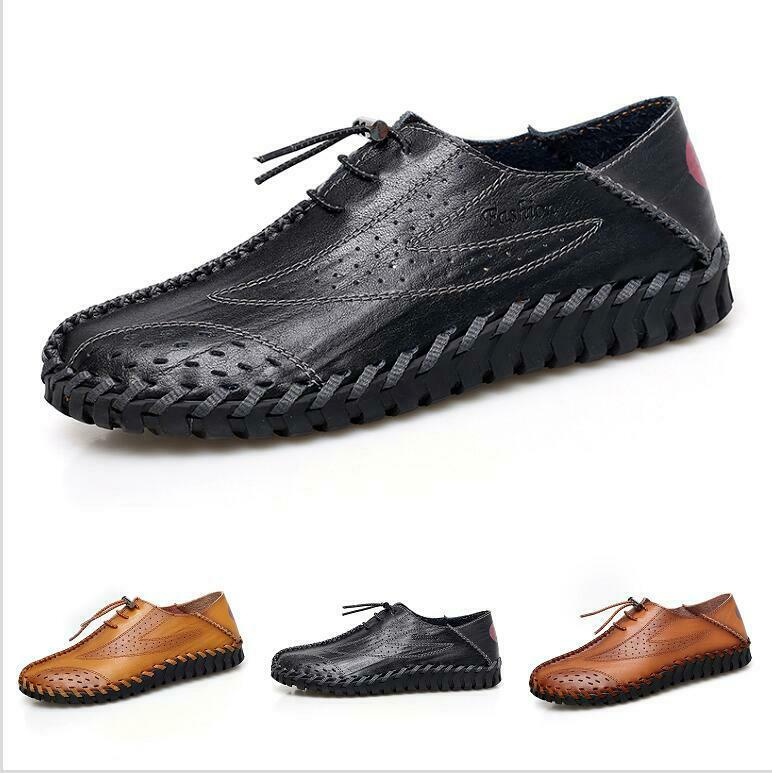 Mens Summer Leather Casual shoes Breathable Comfort Trail Dress Slip On Flats