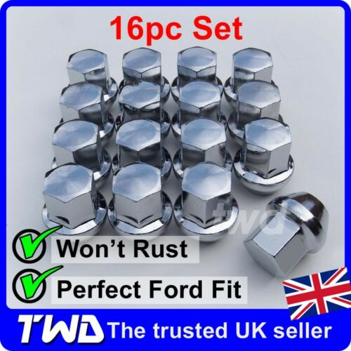 CHROME TAPERED SEAT 19MM HEX BOLT 16N 16x ALLOY WHEEL NUTS FOR FORD M12x1.5