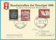 BRD-Sonderpostkarte mit MiNr.215 und Berlin Satz MiNr.110-111 mit Sonderstempel!