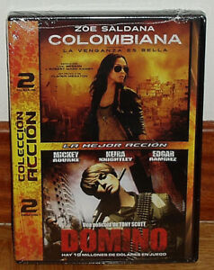 Colombiana-Domino-Pack-2-DVD-Sealed-New-Thriller-Thriller-Sleeveless-Open-R2
