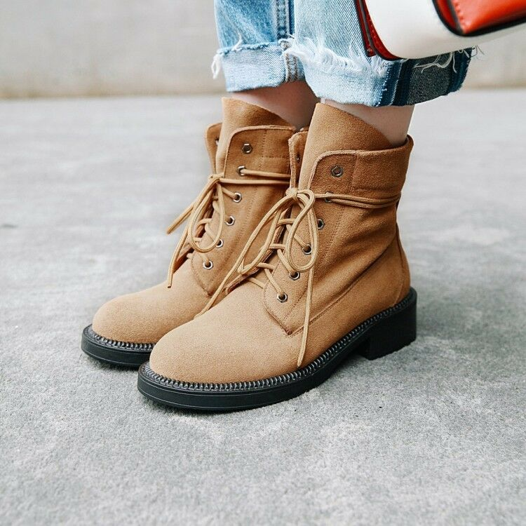 068e8b014ec951 femmes Solid Block Heels Round Toe Lace Up Ankle Chunky Martin démarrageies  bottes Mid nhijpy5115-bottines
