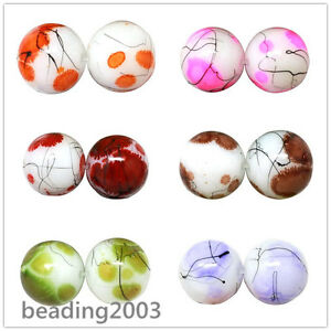 106pcs-Baking-Painted-Drawbench-Glass-Round-Beads-8mm-Choice-of-Colours