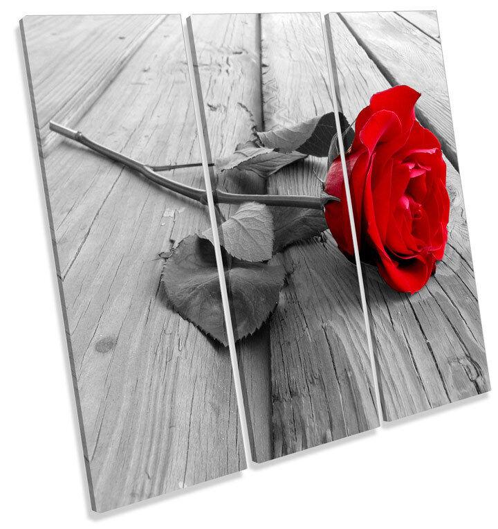 rosso rosa a Fiori TREBLE TELA parete arte foto foto foto stampa quadrato c26ed3