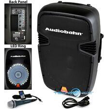 """AUDIOBAHN TORQ 15"""" POWERED 2600W PRO DJ BLUETOOTH USB PA LED SPEAKER KARAOKE MIC"""