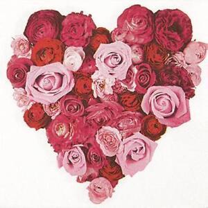 20 Servietten Heart Of Roses Herz Aus Rosen Blumen Rot Weiss
