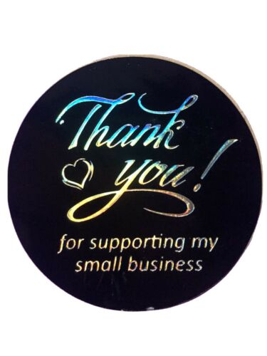 """30 Lg High Quality PVC 1.5"""" Thank You For Supporting My Small Business"""" Stickers"""