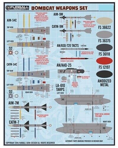 1:72 F-14 Bombcat Weapons Set Decalset Neu Furball 72-006