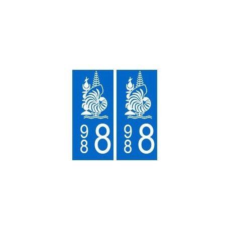 988 nouvelle calédonie autocollant plaque -  Angles : arrondis