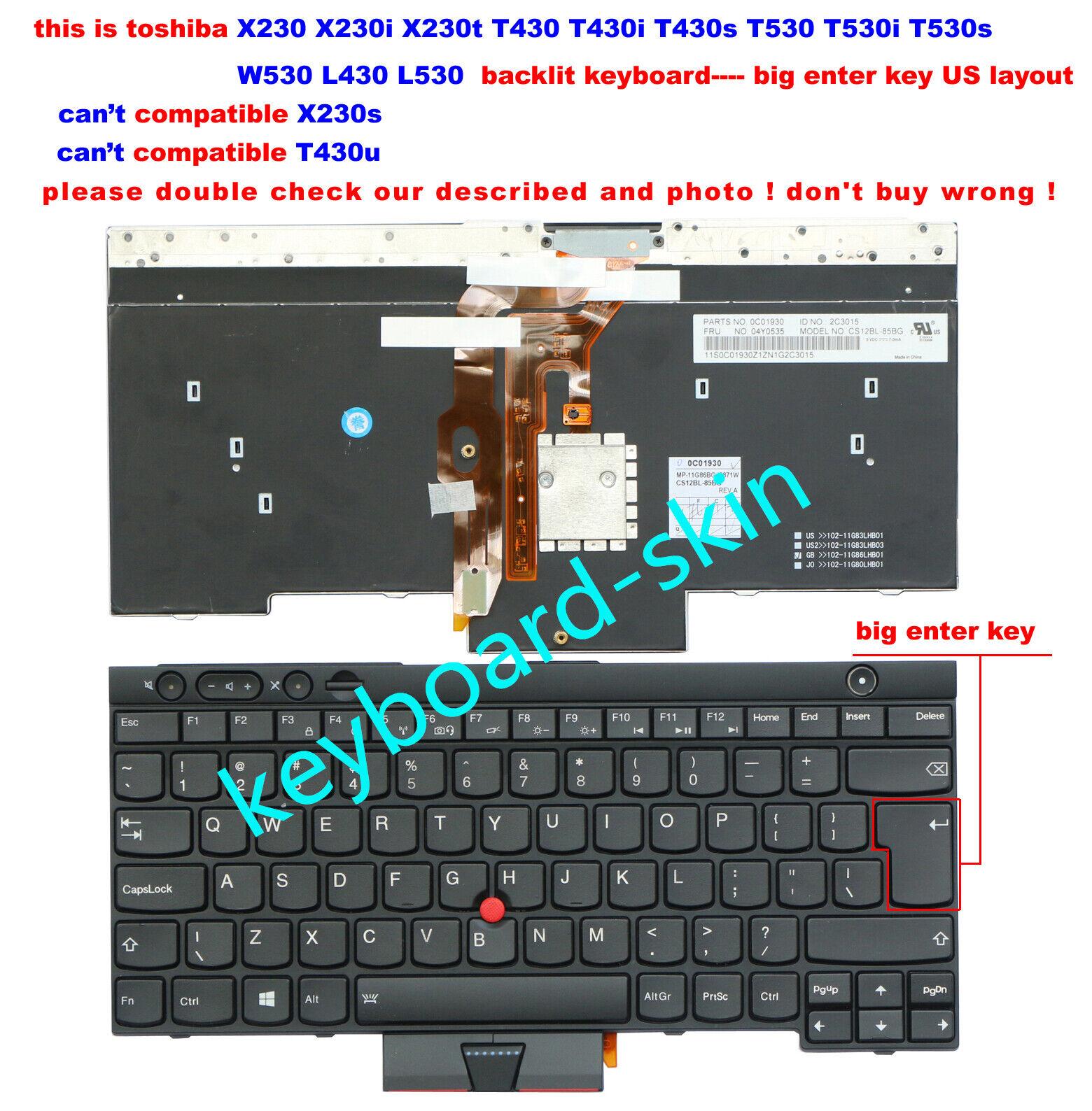 New for IBM Thinkpad X230 T430 T530 W530 Keyboard backlit V130020CS3 04Y0639