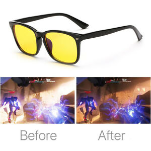 343ad7156300 Gaming Glasses Eyewear Blue Light Block Anti Glare Yellow Lens PC ...
