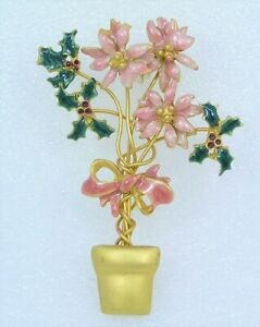 Vintage-Christmas-Pin-Brooch-Pink-Enamel-Poinsettia-Flower-Holly-Pot-Unsigned