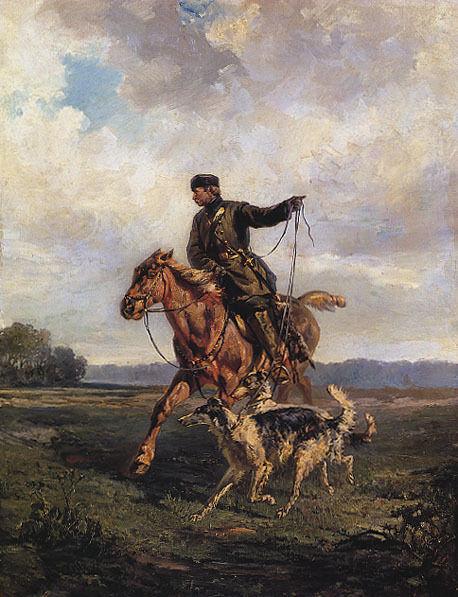 HUNTSMAN HORSE DOGS BORZOIS RUSSIAN BY RUDOLF VON FRENTZ REPRO