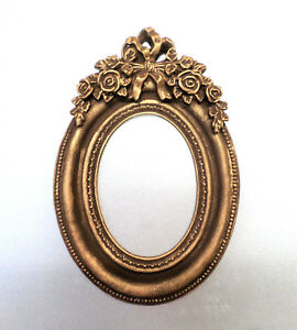 Picture-Frames-Oval-Mini-Decor-Brown-Gold-Patina-Classic-Stile-Photo-Frames