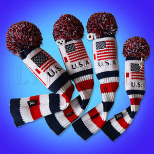 Golf-Pom-Pom-Cover-Driver-Rescue-Fairway-for-Taylormade-Headcover-Hybrid-US-Flag