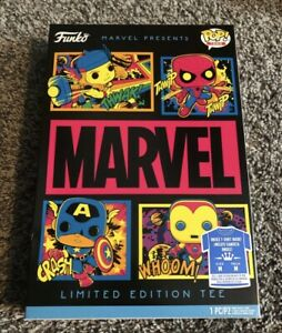 (Medium) Funko Pop Black Light Marvel Shirt Tee Spiderman Capt America Iron Man!