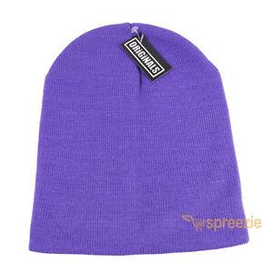 0784323c26c Lilac Purple Skull Cap Plain Beanie Knitted Ski Hat Skully Warm ...