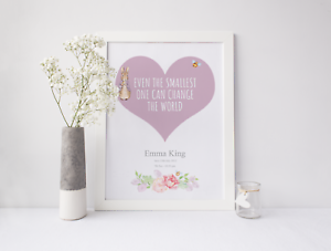 Birth Stats Personalised Peter Rabbit Picture For New Baby Christening Gifts