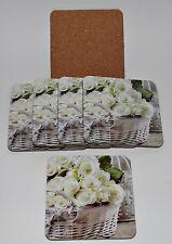 6x Untersetzer Weiß Rosen Blumen Kork Shabby Chic Landhaus Stil Glasuntersetzer