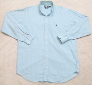 Detalles de Ralph Lauren Blake Vestido Camisa Manga Larga Azul Medio De Algodón Top Solid para hombre ver título original