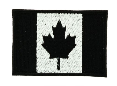 CANADA BLACK CANADIAN FLAG PATCH Patches backpack BADGE IRON ON EMBROIDERED