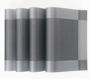 Placemats-Set-of-4-Woven-Stain-Resistant-Easy-to-Clean-Gray-Coasters-Hotel-Vinyl