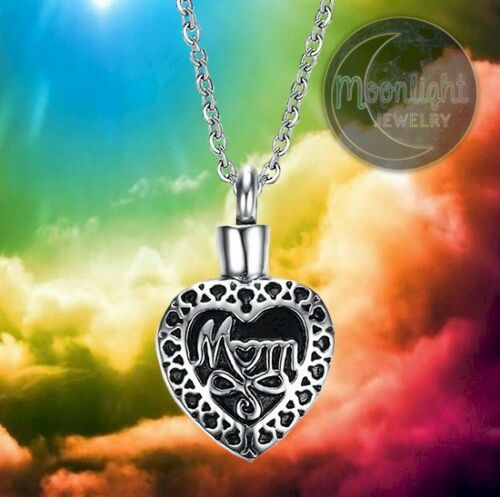 New Mom Heart Mother Urn Cremation Pendant Silver Memorial Necklace