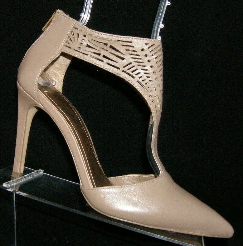 BCBGeneration 'Diola' taupe leather pointed toe laser cut rear zip heels 8.5M