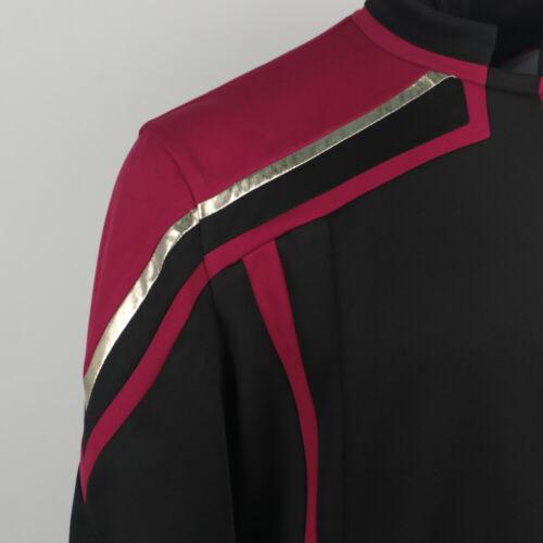 Star Trek Admiral JL Picard Uniform Red Gold Stripe Startfleet Shirt Men Costume