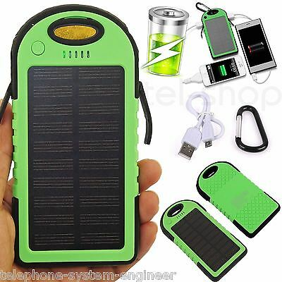 5000mAh Solar Charger Power Bank For iPhone iPad Tablets & Smart Phones GREEN UK