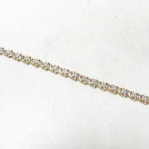 Estate-10K-Yellow-Gold-39-Round-Brilliant-Cut-Diamond-Tennis-Bracelet-1-00-Ct