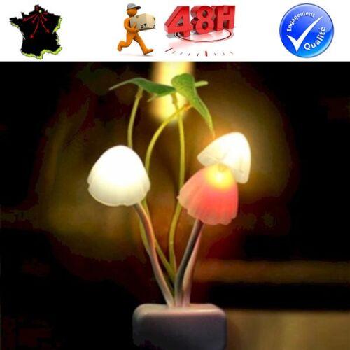 VEILLEUSE LAMPE CHAMPIGNON LED AMBIANCE PHOTO SENSIBLE POUR CHAMBRE DECORATION