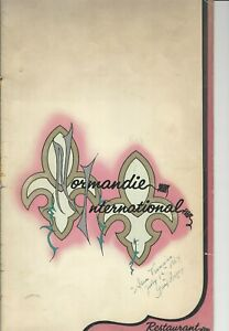 Vintage NORMANDIE INTERNATIONAL Restaurant Menu San Francisco California 1964