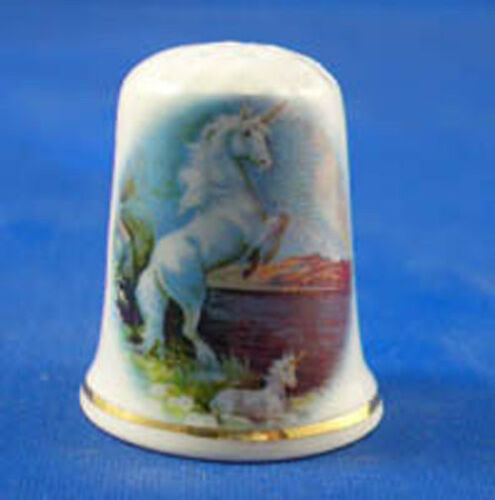 BIRCHCROFT  PORCELAIN CHINA THIMBLE - PRANCING UNICORN - FREE GIFT BOX