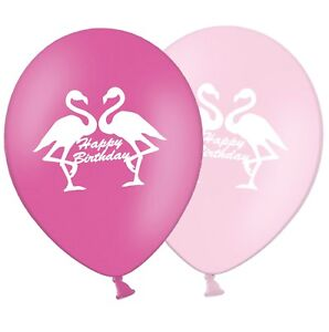 Flamingo-Happy-Birthday-12-034-Printed-Latex-Balloons-Asst-5-ct-By-Party-Decor