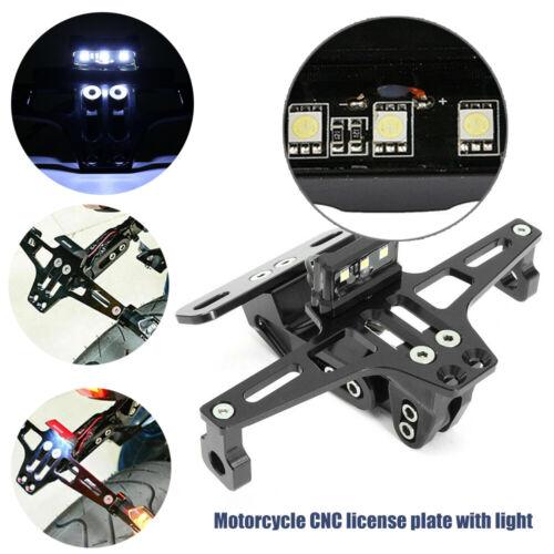 Universal Motorcycle Adjustable License Number Plate Holder LED Light Bracket UK