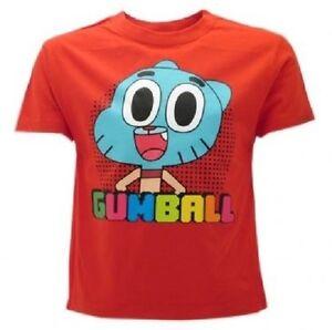 T-Shirt-Originale-Gumball-Cartoon-Network-Lo-Straordinario-Mondi-ROSSA-COTONE